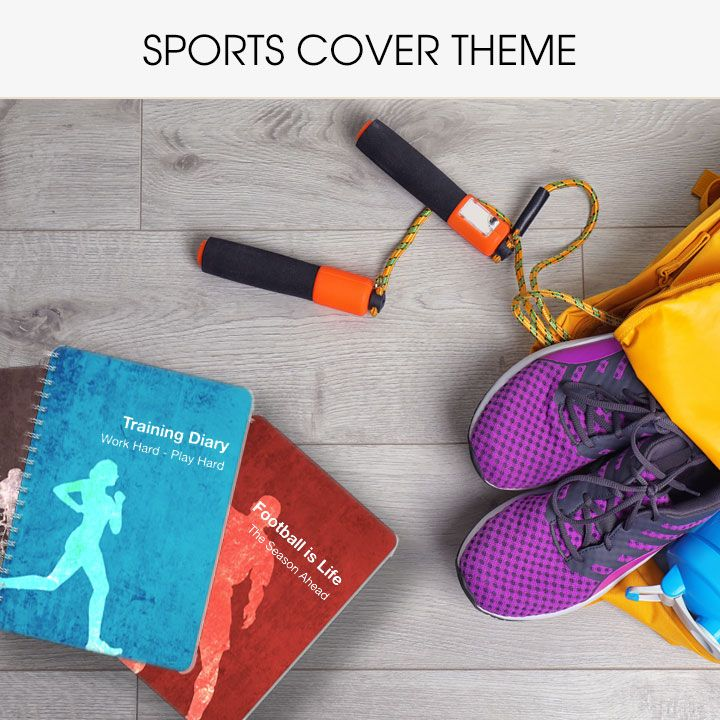 Personalised diaries and notebooks with sports covers
