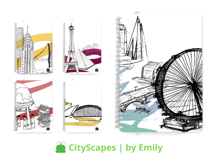 Personalised Dairies & Notebooks, City Scapes design theme