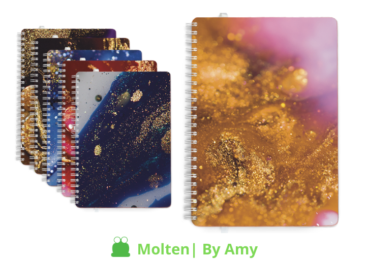 Personalised Dairies & Notebooks, Molten design theme