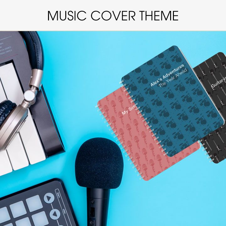 Personalised diaries and notebooks with music covers