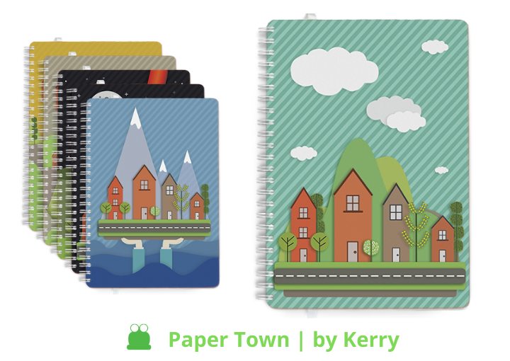 Personalised Dairies & Notebooks, Paper Town design theme