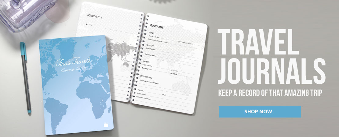 Personalised Travel Journals on a Table