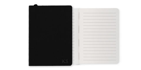 Personalised notebook with open pages.