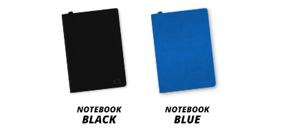 Personalised notebooks in either blue or black