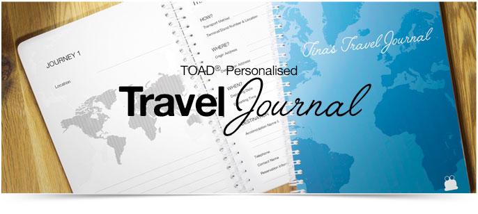 Personalised travel journals, diaries & notebooks