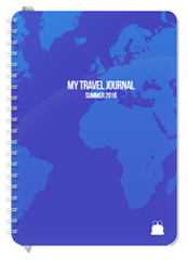 A5 size Travel Journal Blue Cover Font 1