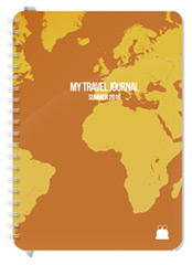 A5 size Travel Journal Brown Cover Font 1