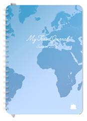 A5 size Travel Diary Aqua Cover design Font 2
